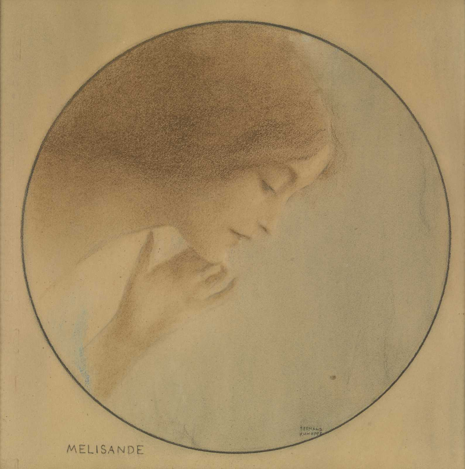 Fernand Khnopff: 'Melisande'. Pastel and coloured pencil on paper, 330 x 330 mm