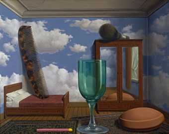 "René Magritte: ""Personal values"" (1952). Oil on canvas, 77,5 x 100 cm."