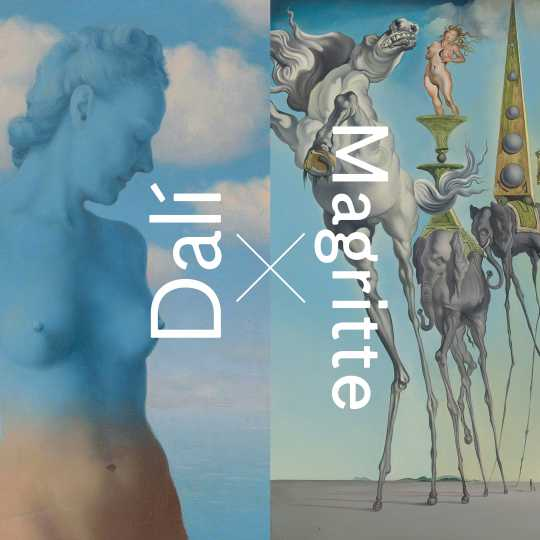 "René MAGRITTE, Black Magic (detail), 1945 + Salvador DALÍ, ""The Temptation of St. Anthony"" (detail), 1946. RMFAB, Brussels (click to enlarge)"