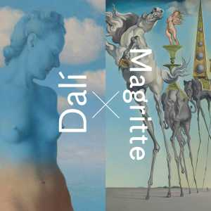"René MAGRITTE, Black Magic (detail), 1945 + Salvador DALÍ, ""The Temptation of St. Anthony"" (detail), 1946. RMFAB, Brussels"
