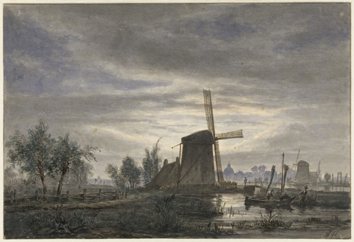 Jacobus Theodorus Abels : Hollands landschap met windmolen
