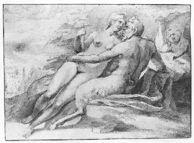 Anonyme : Nymphe et satyre