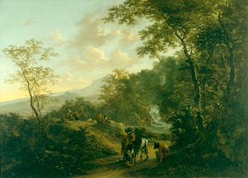 Jan Both ; figures de Andries Both : Paysage italien au crépuscule