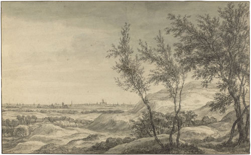 Anthonie Waterloo of Simon Jacobsz. de Vlieger : Vue de Haarlem depuis les dunes