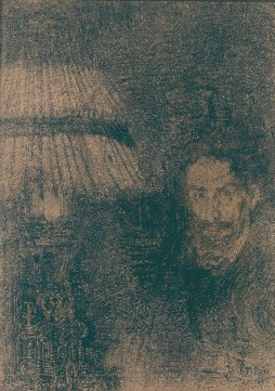 James Ensor : Autoportrait à la lampe