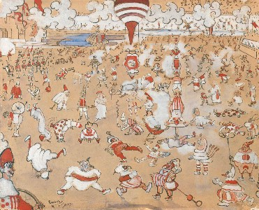 James Ensor : Witte en rode clowns in beweging