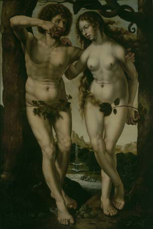 Jan (Jennin) Gossaert genaamd Mabuse (repliek) : Adam en Eva