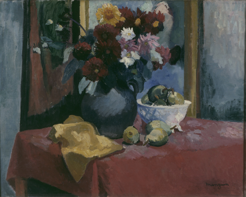 Henri Manguin : Nature morte. Dahlias et fruits