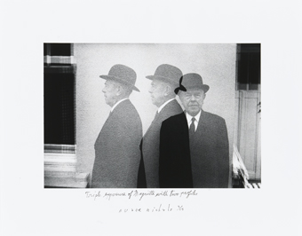 Duane Michals : Triple Exposure of Magritte with Two Profiles