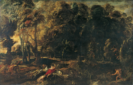 Peter Paul Rubens (repliek) : Landschap met de jacht van Atalanta