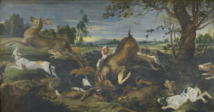 Frans Snijders ; paysage de Jan Wildens : Chasse au daim