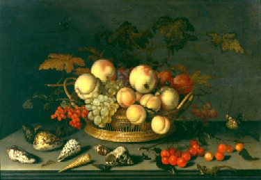 Balthasar van der Ast : Nature morte à la corbeille de fruits et aux coquillages