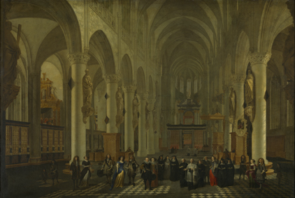 Wilhelm Schubert von Ehrenberg ; figuren door Hiëronymus Janssens : Groep personages in de Sint-Romboutskerk te Mechelen