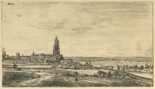 Anthonie Waterloo : Panorama de la ville de Rhenen